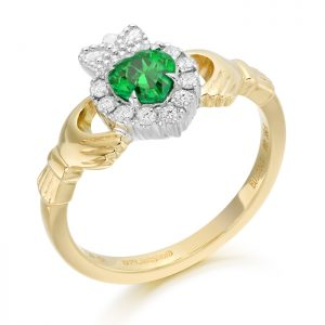 18ct Gold Diamond Claddagh Ring-CLDIA5
