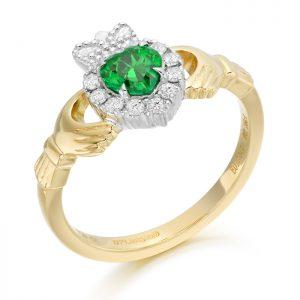18ct Gold Diamond Claddagh Ring-CLDIA5