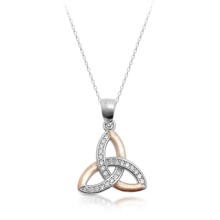 Silver Trinity Knot Celtic Pendant Plated with Rose Gold. - SP83