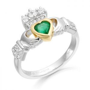 18ct Gold Diamond Claddagh Ring-CLDIA3W