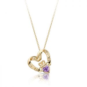 Floating Heart Claddagh Pendant-P058AS