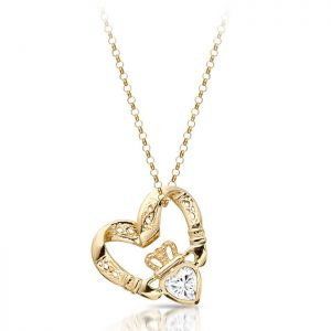 Floating Heart Claddagh Pendant-P058CZ