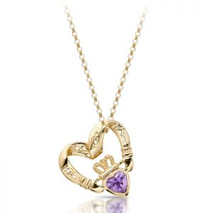 Floating Heart Claddagh Pendant-P058A