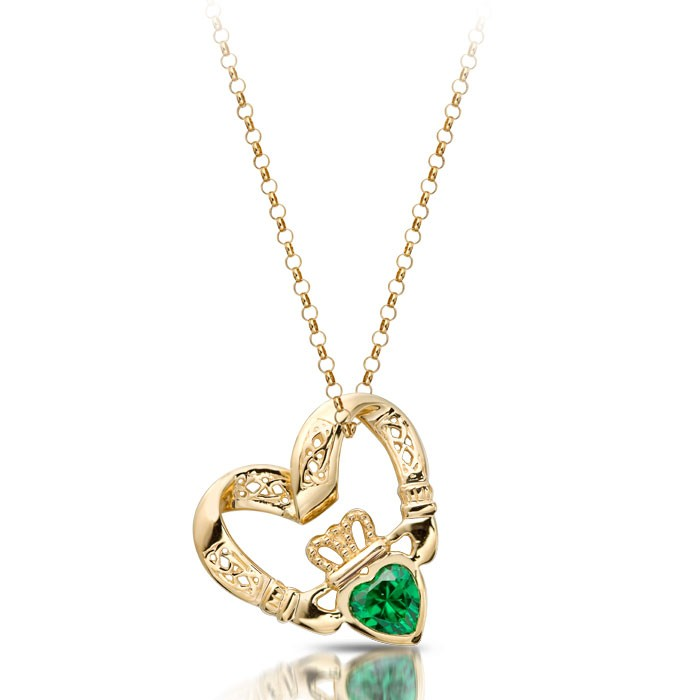 Claddagh Pendant in Floating Heart Shape with Emerald CZ and combined with Celtic Knot Design - P058G