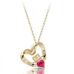 Floating Heart Claddagh Pendant-P058R
