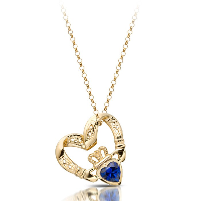 Claddagh Pendant in Floating Heart Shape with Sapphire CZ and combined with Celtic Knot Design - P058S