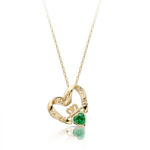 Floating Heart Claddagh Pendant-P058GS