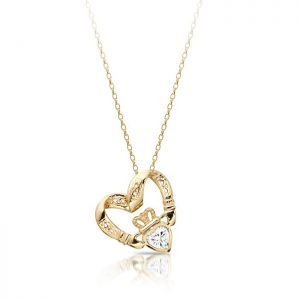 Floating Heart Claddagh Pendant-P058CZS