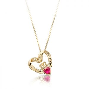 Floating Heart Claddagh Pendant-P058RS