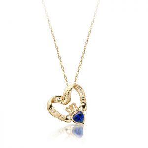 Floating Heart Claddagh Pendant-P058SS