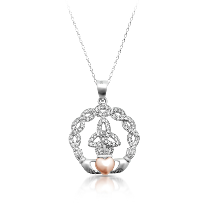 Silver Claddagh Pendant combined with Celtic Knot Design and studded with CZ - SP71