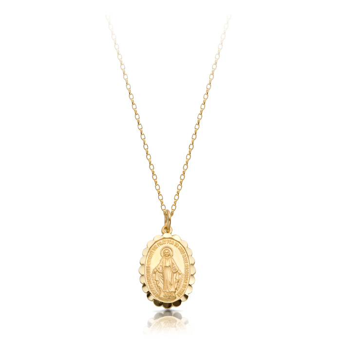 9ct Gold Miraculous Medal Pendant-MM16