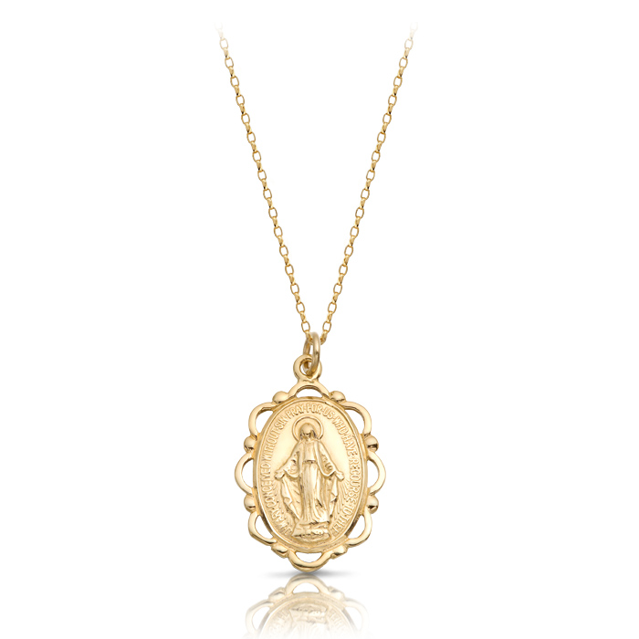 9ct Gold Miraculous Medal Pendant-MM17