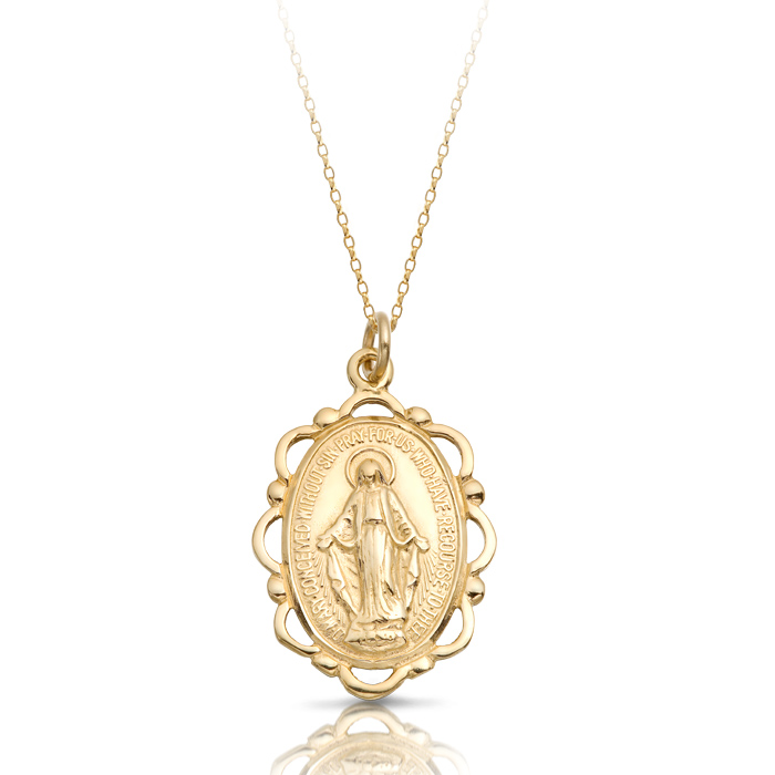 9ct Gold Miraculous Medal Pendant-MM18
