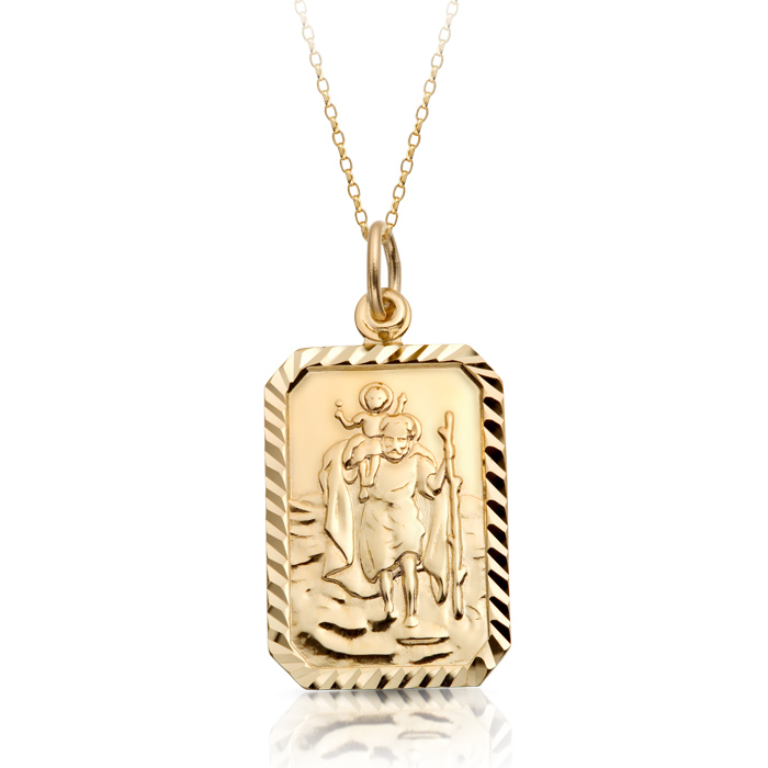 9ct Gold St Christopher Medal Pendant-ST1
