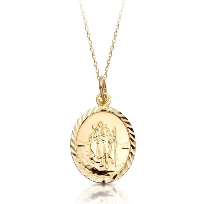 9ct Gold St Christopher Medal Pendant-ST2