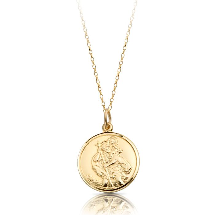 9ct Gold St Christopher Medal Pendant-ST4