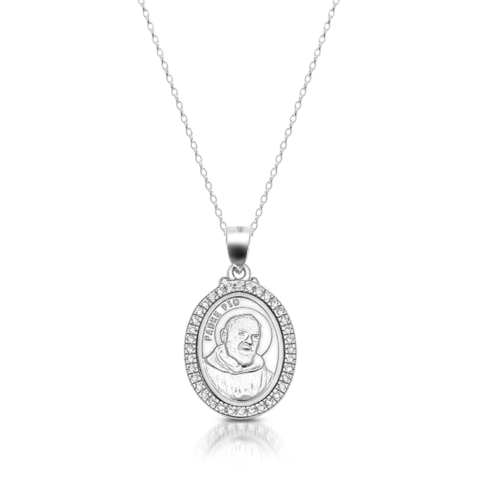 Silver Padre Pio Medal - SM38