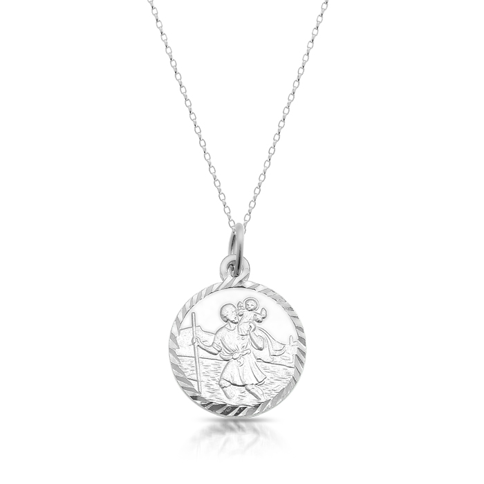 Silver Saint Christopher Medal with Beveled Edge - SST31