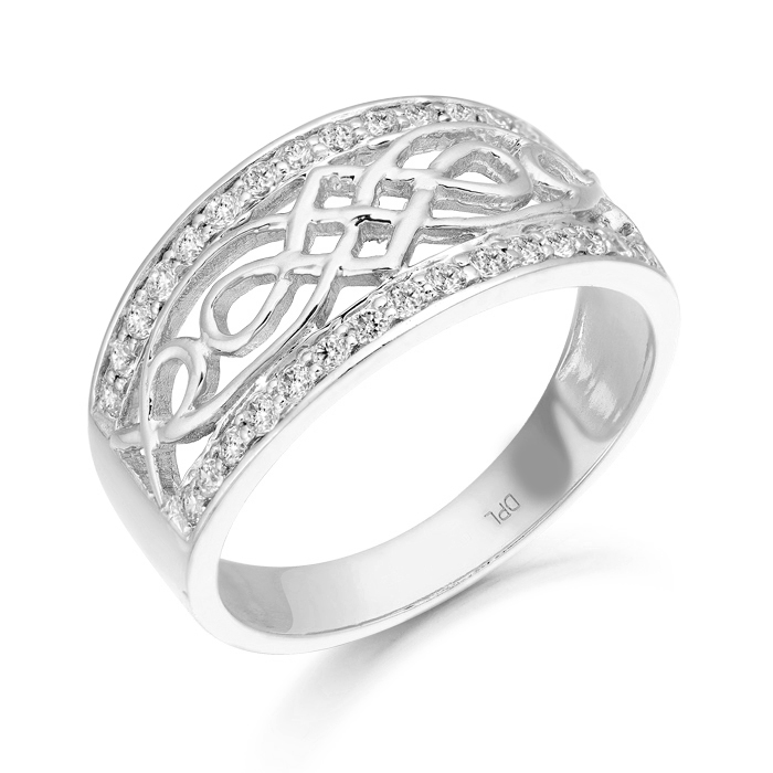 Silver Celtic Ring studded with Micro Pave Cubic Zirconia.