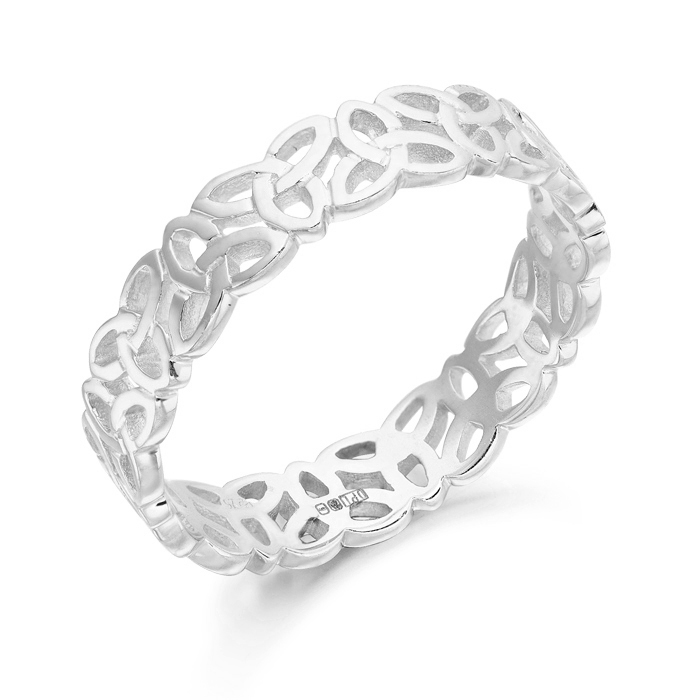 Silver Celtic Knot Wedding Ring with Trinity Knot Celtic Design.
