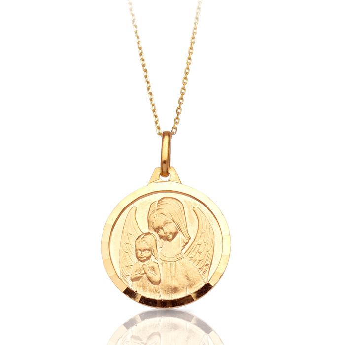 9ct Gold Guardian Angel Medal - J35